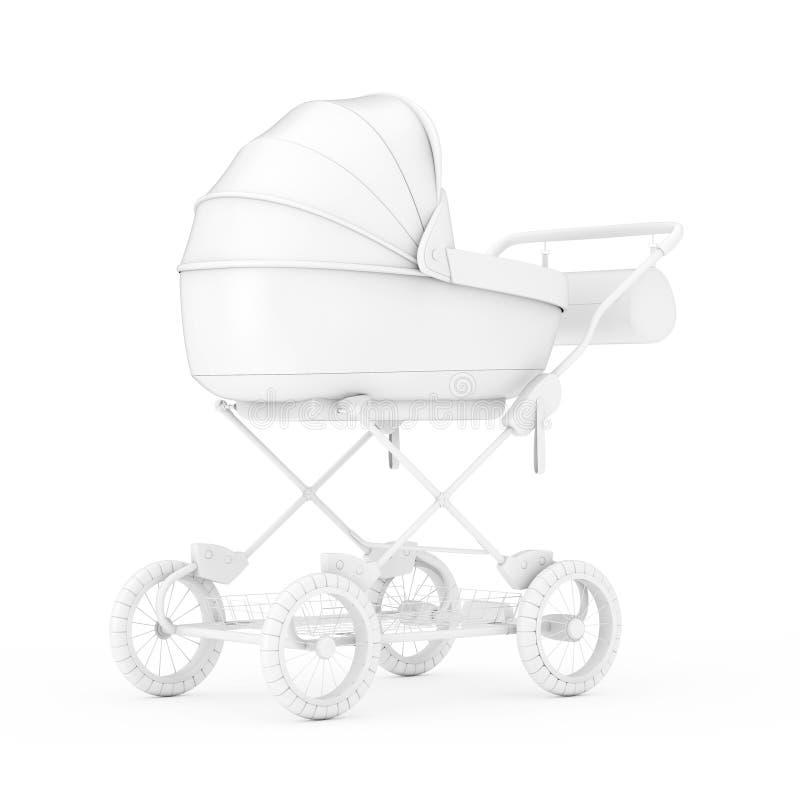 Carro de bebé moderno, cochecito, mofa del cochecito de niño para arriba en Clay Style representaci?n 3d ilustración del vector