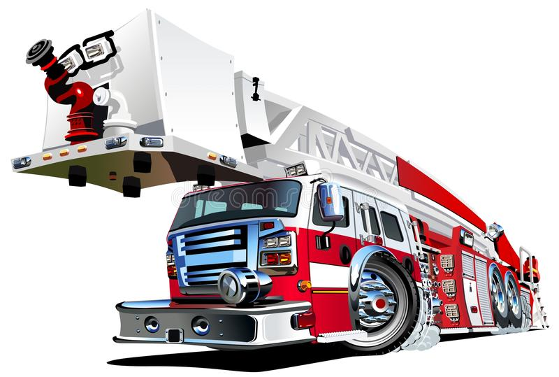 Carro de bombeiros dos desenhos animados do vetor ilustração royalty free