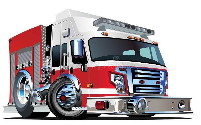 Carro de bombeiros dos desenhos animados do vetor ilustração do vetor