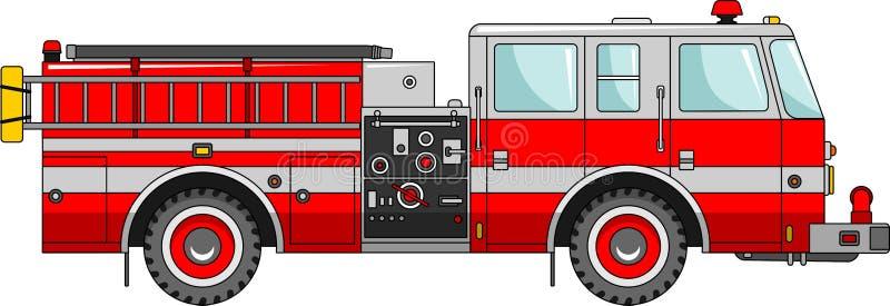 Carro de bombeiros em um fundo branco em um estilo liso ilustração do vetor