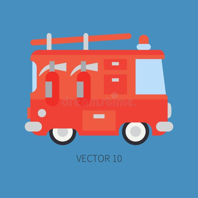 Carro de bombeiros liso liso do ícone da cor do vetor Veículo do auxílio da emergência Estilo dos desenhos animados fireman manut ilustração do vetor