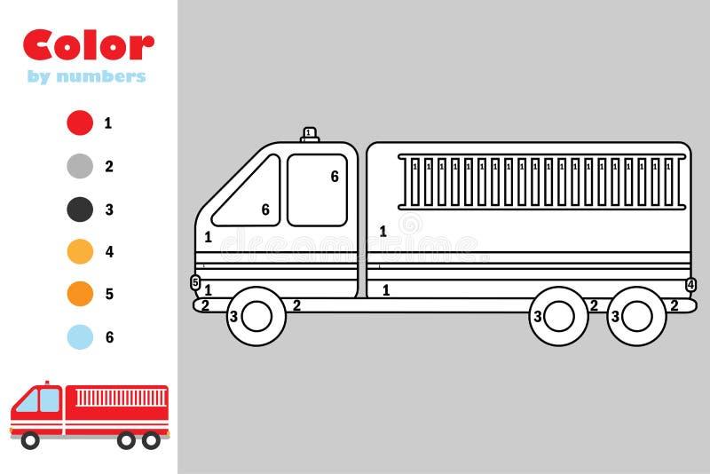 Carro de bombeiros no estilo dos desenhos animados, cor pelo número, jogo do papel da educação para o desenvolvimento das criança ilustração do vetor