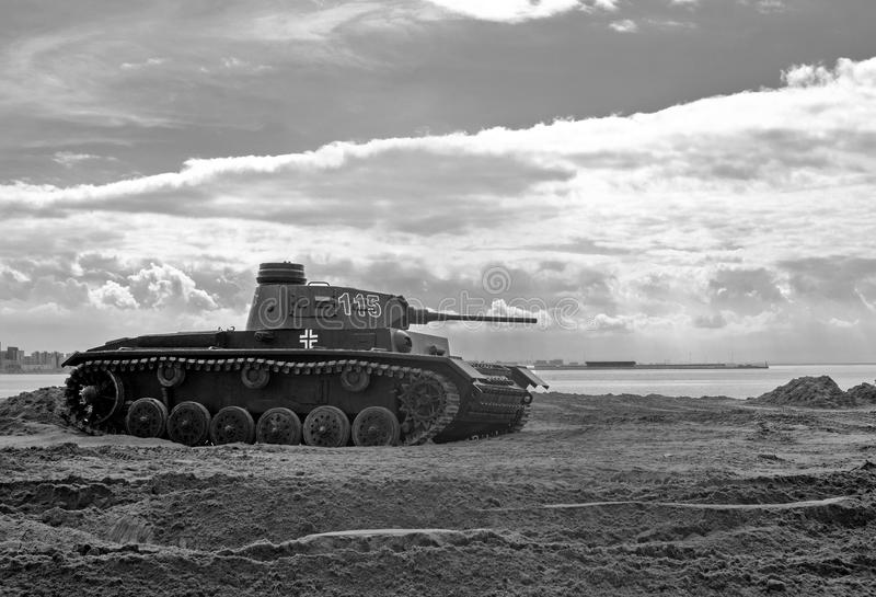 Carro de combate médio alemão do vintage da segunda guerra mundial fotografia de stock royalty free