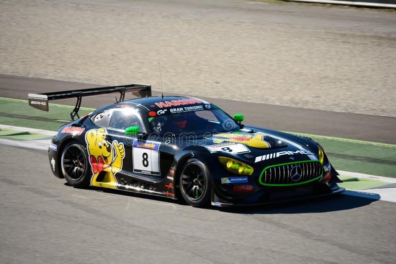 Carro de competência de Mercedes AMG GT3 em Monza fotografia de stock