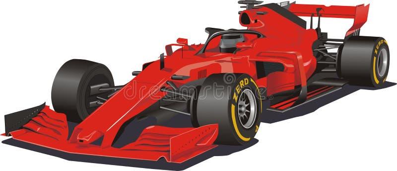 Carro de competência no vetor Fórmula 1 Carro vermelho no fundo branco ilustração stock