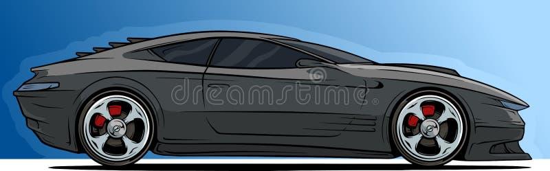 Carro de competência preto moderno fresco do esporte dos desenhos animados ilustração do vetor