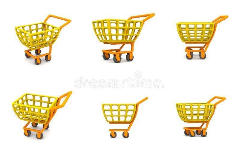 Carro de compra 3D múltiplo ilustração royalty free