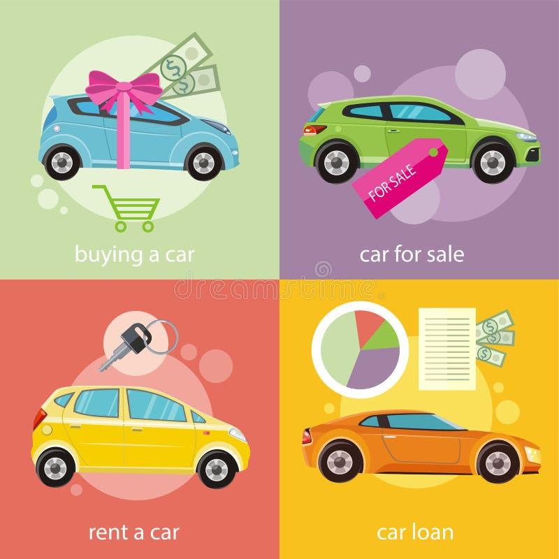 Carro de compra, aluguel e empréstimo ilustração stock