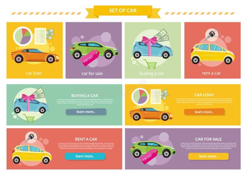Carro de compra, aluguel e empréstimo ilustração do vetor