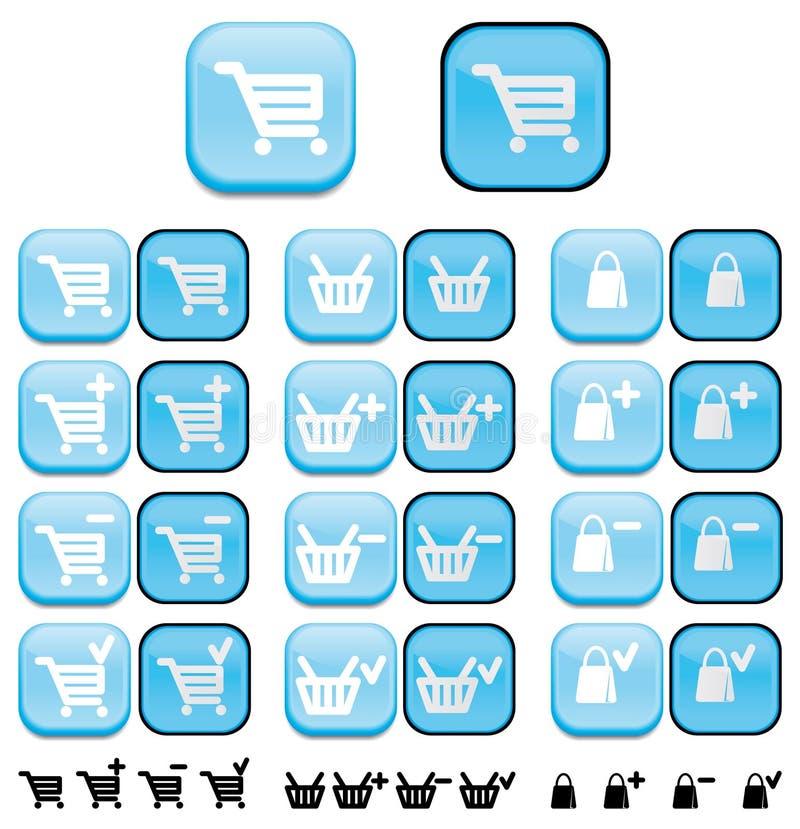 Carro de compra, cesta e saco b ilustração do vetor