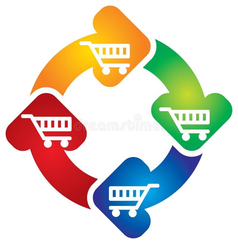 Carro de compra com setas do círculo ilustração do vetor