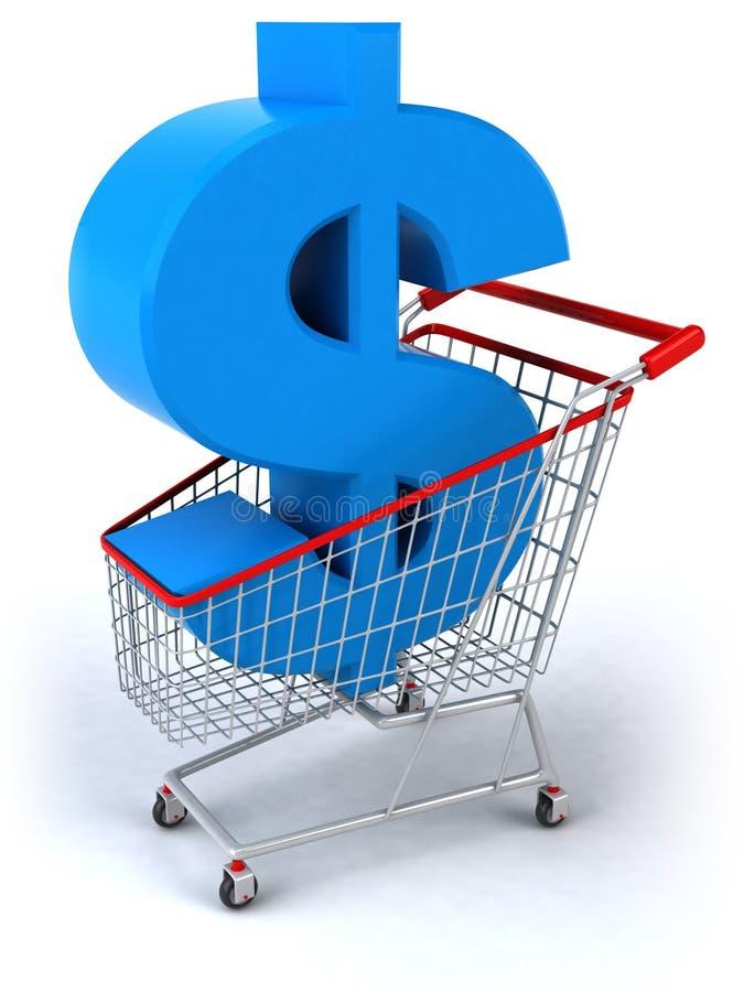 Carro de compra com um dólar ilustração stock