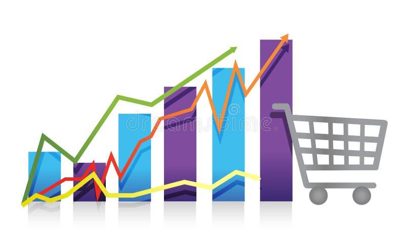 Carro de compra da carta de negócio do crescimento das vendas ilustração do vetor