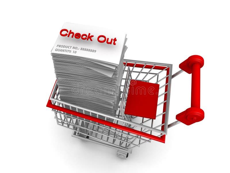 Carro de compra do conceito do comércio electrónico a verific para fora ilustração royalty free