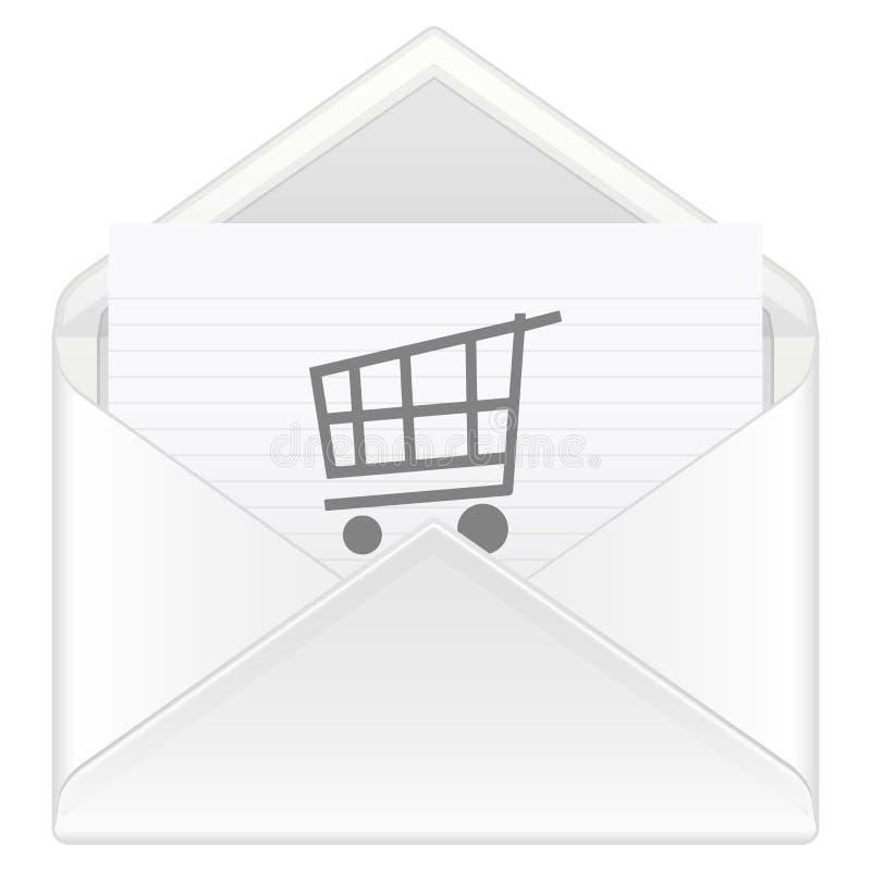 Carro de compra do envelope ilustração stock