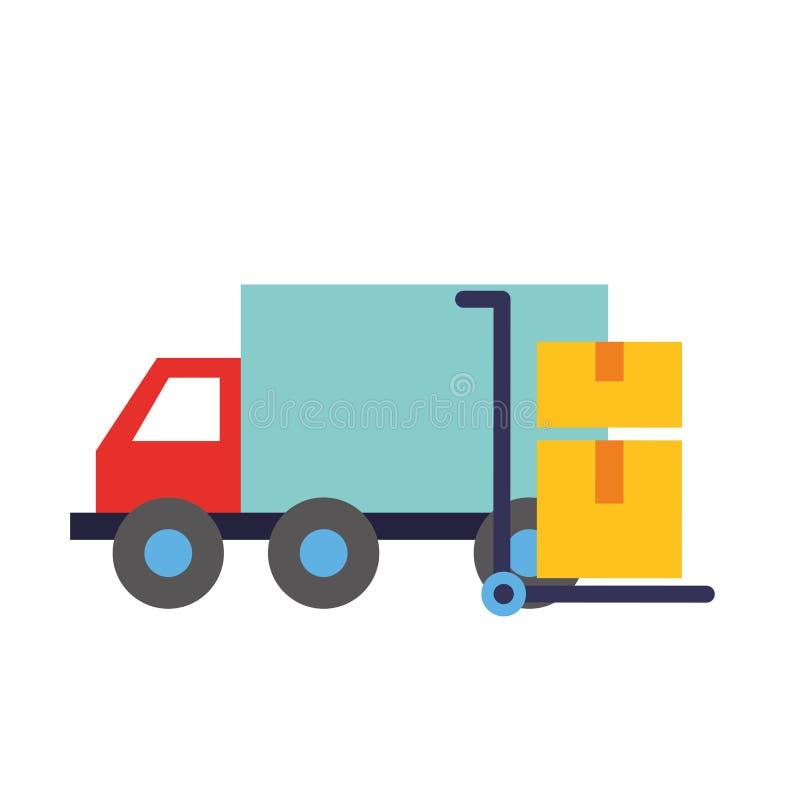 Carro de compra em linha do caminhão com caixas de cartão ilustração royalty free
