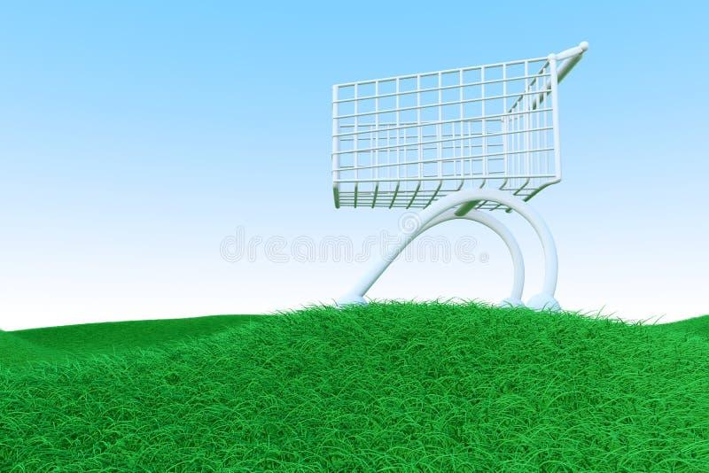 Carro de compra em montes verdes ilustração do vetor