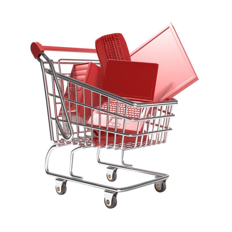 Carro de compra isolado com conceito da tecnologia imagens de stock royalty free