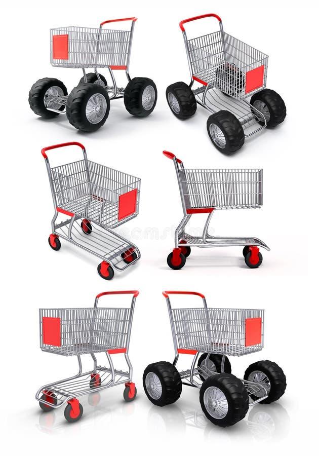 Carro de compra para a loja de alimento ilustração royalty free