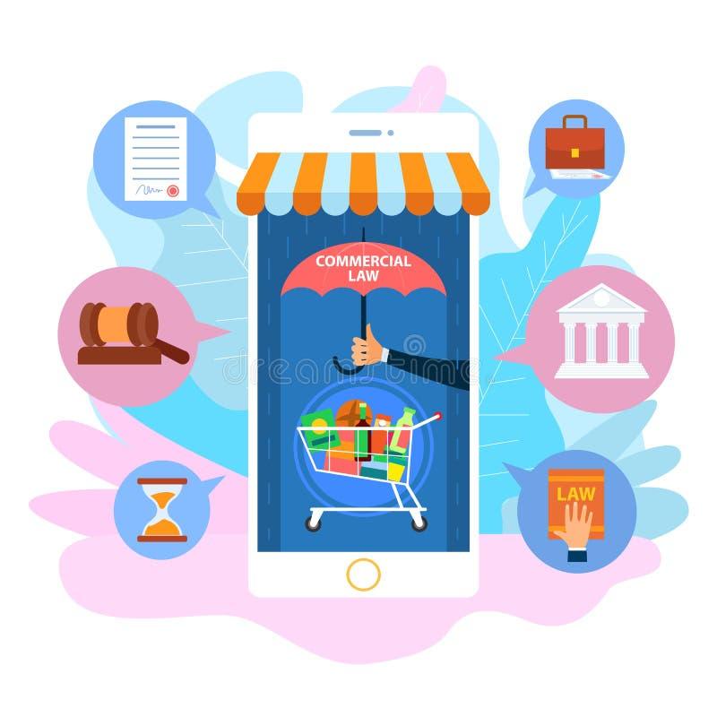 Carro de comprador bajo el paraguas del Smartphone Ley Civil ilustración del vector