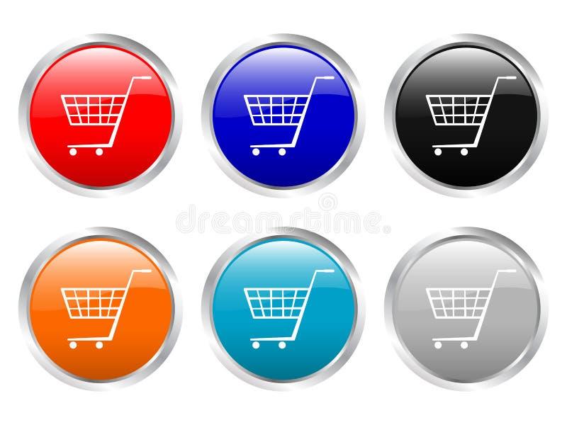 Carro de compras brillante de los botones ilustración del vector