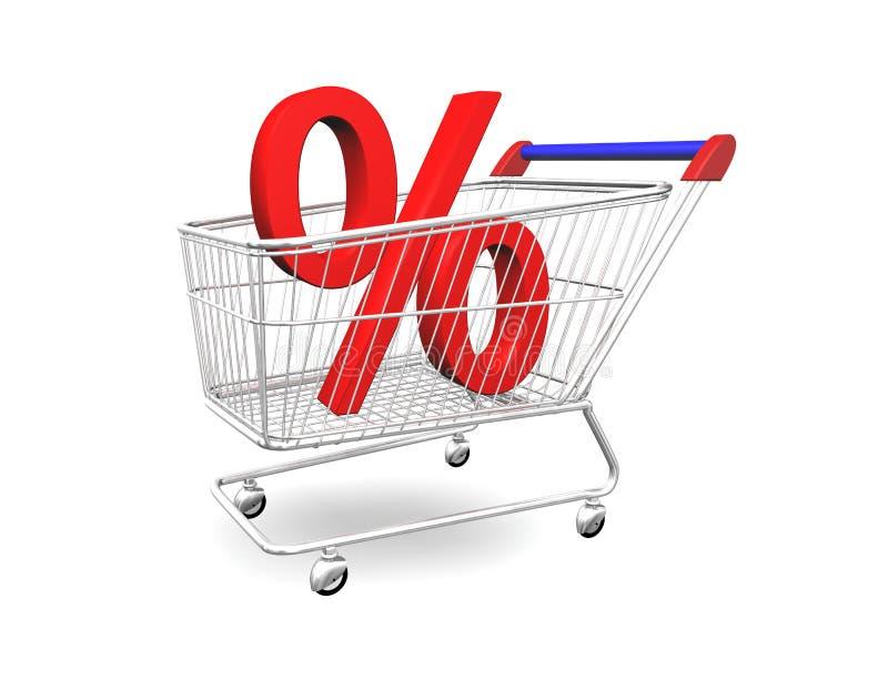 Carro de compras con el porcentaje 3D ilustración del vector