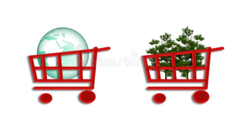 Carro de compras con la eco-esfera y los árboles stock de ilustración