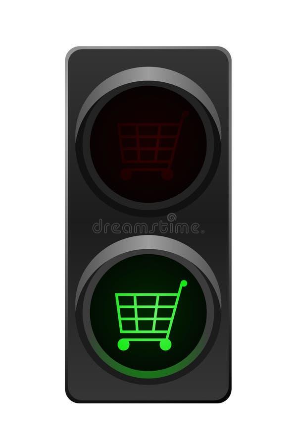 Carro de compras del semáforo stock de ilustración