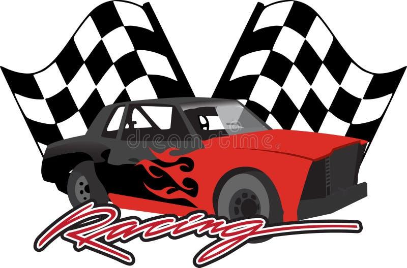 Carro de corridas com bandeiras checkered ilustração royalty free