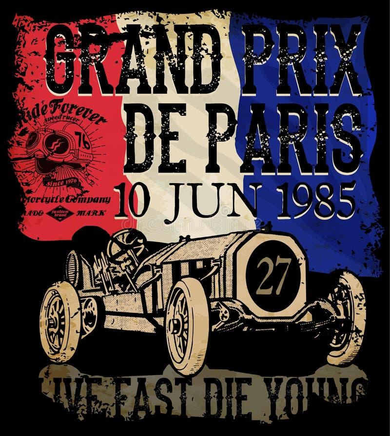 Carro de corridas do vintage para imprimir Cartaz da raça da velha escola do vetor ilustração stock