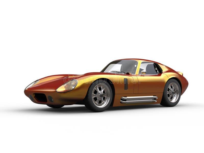 Carro de corridas dourado do vintage - dois tonificam a pintura do carro ilustração royalty free
