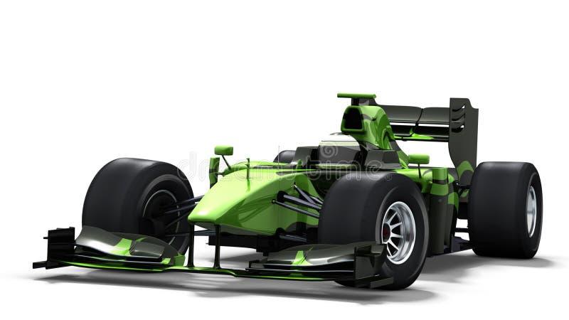 Carro de corridas no branco - preto & verde ilustração do vetor