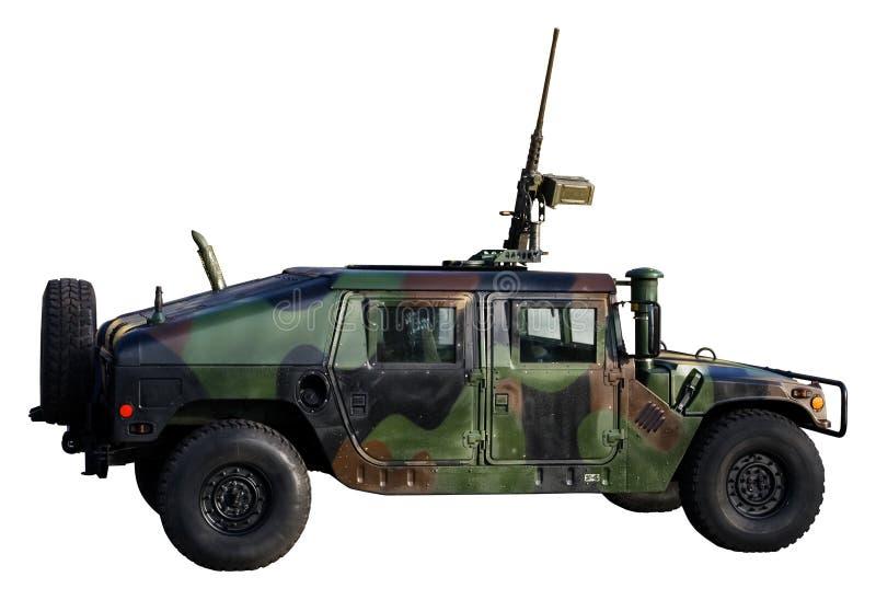 Carro de ejército aislado en blanco foto de archivo