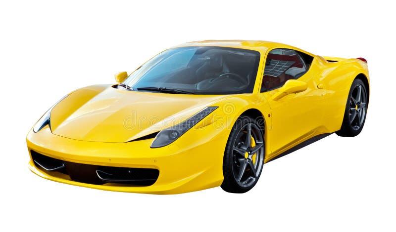Carro de esportes amarelo isolado fotografia de stock royalty free