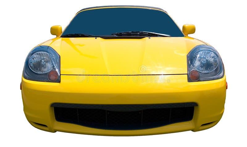 Carro de esportes amarelo no fundo branco imagem de stock