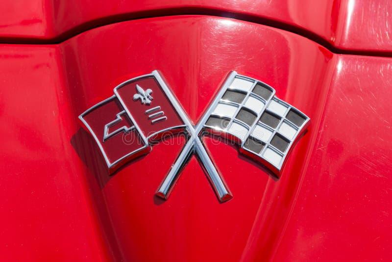 Carro de esportes Chevrolet Corvette do emblema Sting Ray (C2) imagens de stock