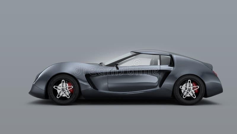 Carro de esportes cinzento metálico isolado no fundo cinzento imagem de stock royalty free