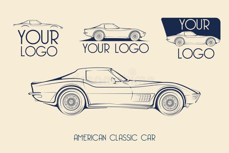 Carro de esportes clássico americano, silhuetas, logotipo imagem de stock