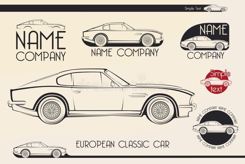 Carro de esportes clássico europeu, silhuetas, logotipo imagem de stock