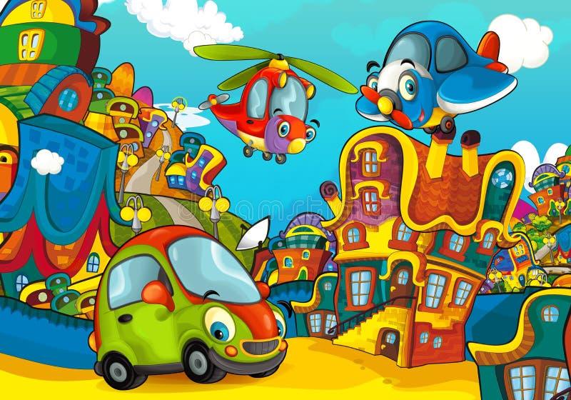 Carro de esportes dos desenhos animados que sorri e que olha no voo plano do parque de estacionamento/helicóptero sobre ilustração royalty free