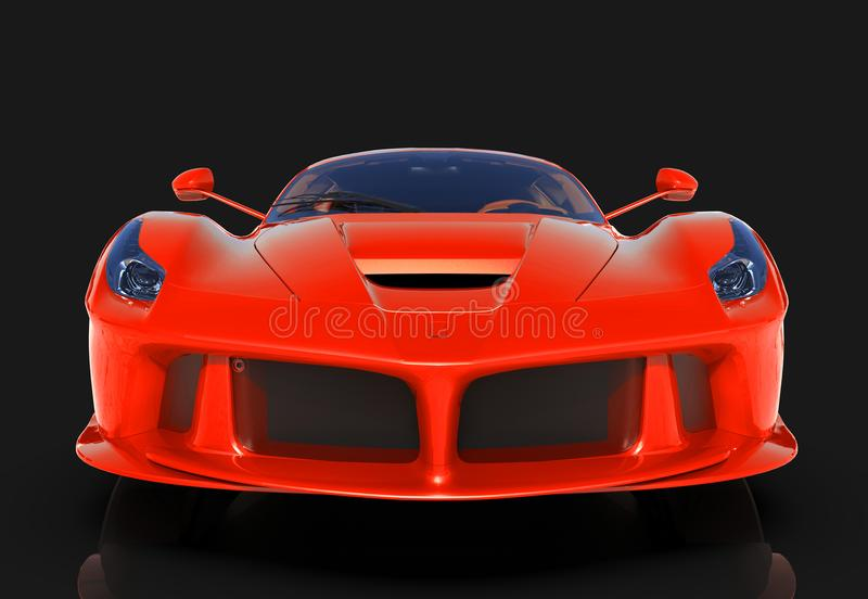 Carro de esportes A imagem de um carro vermelho dos esportes em um fundo preto ilustração 3D ilustração stock
