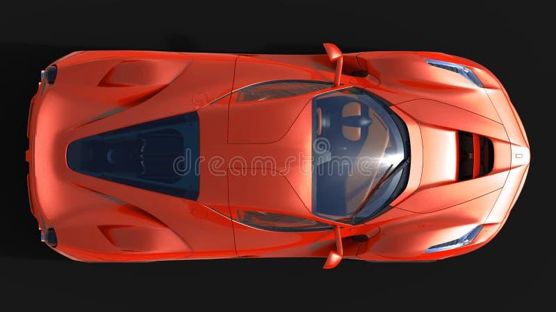 Carro de esportes A imagem de um carro vermelho dos esportes em um fundo preto ilustração 3D ilustração do vetor