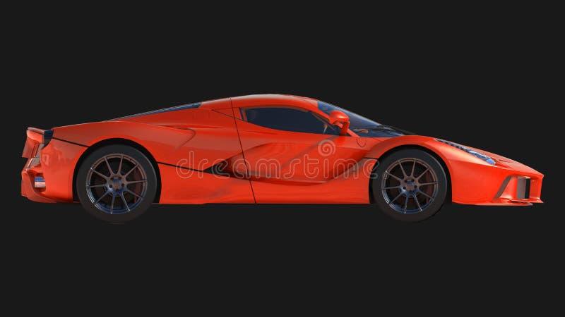 Carro de esportes A imagem de um carro vermelho dos esportes em um fundo preto ilustração 3D ilustração royalty free