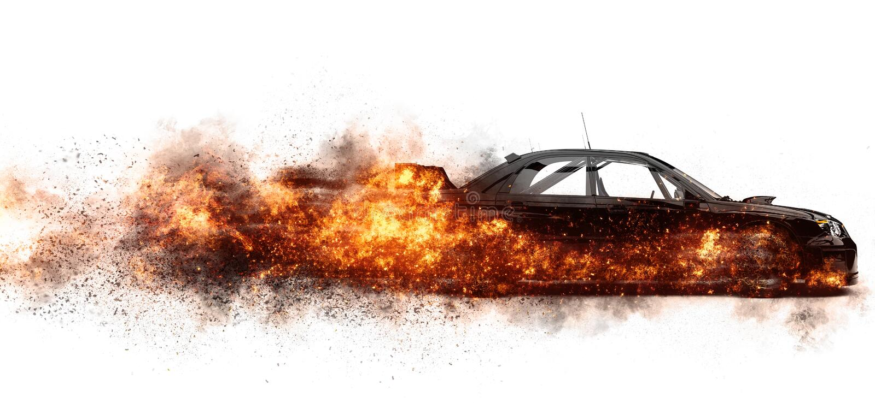 Carro de esportes preto no fogo ilustração do vetor