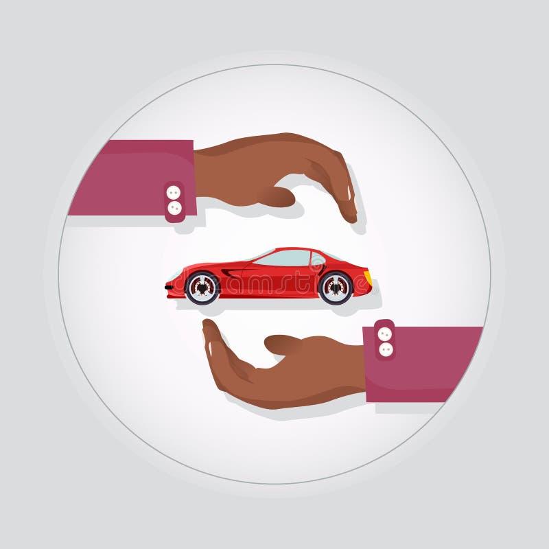Carro de esportes rápido moderno vermelho em duas mãos de Carefull ilustração royalty free