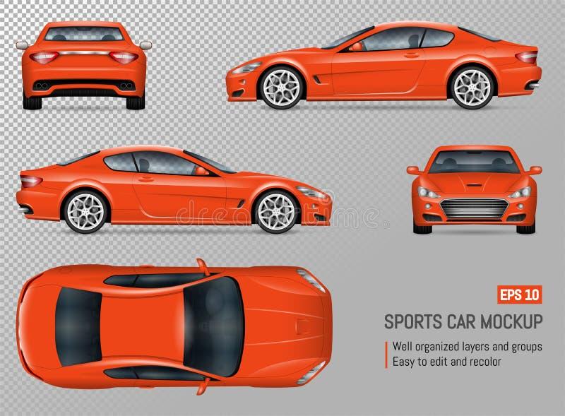 Carro de esportes realístico do vetor ilustração royalty free