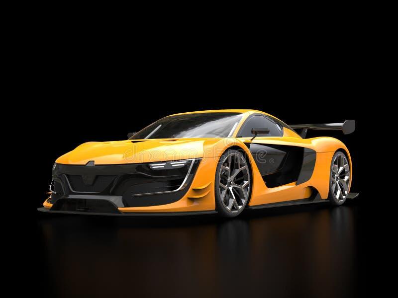 Carro de esportes super amarelo vívido na sala de exposições preta ilustração stock
