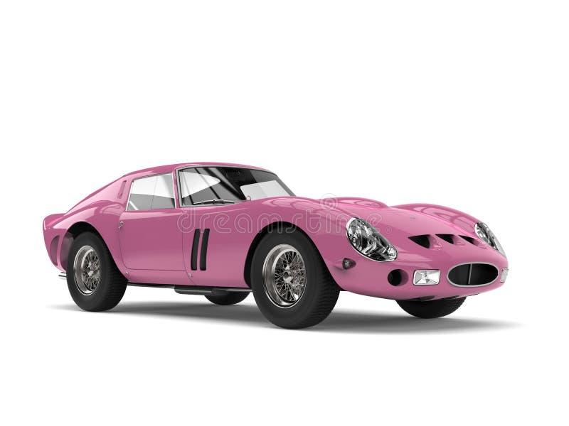 Carro de esportes velho do vintage do rosa escuro dos doces ilustração do vetor