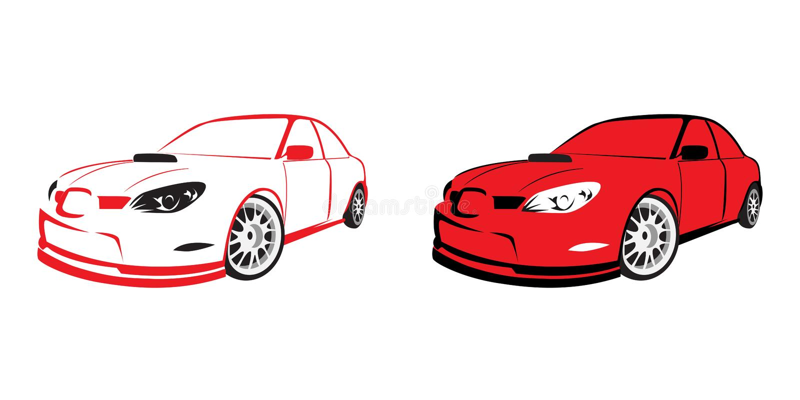 Carro de esportes vermelho - logotipo ilustração royalty free
