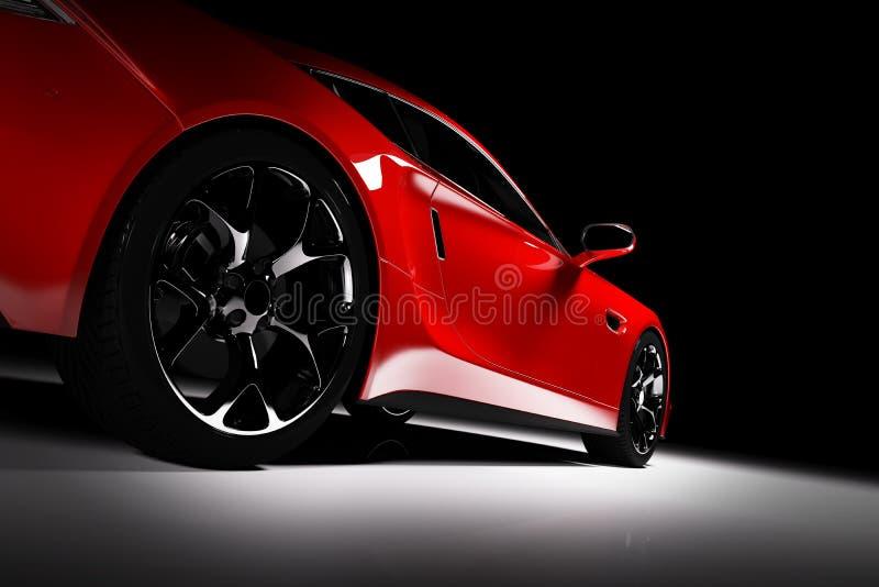 Carro de esportes vermelho moderno em um projetor em um preto ilustração stock